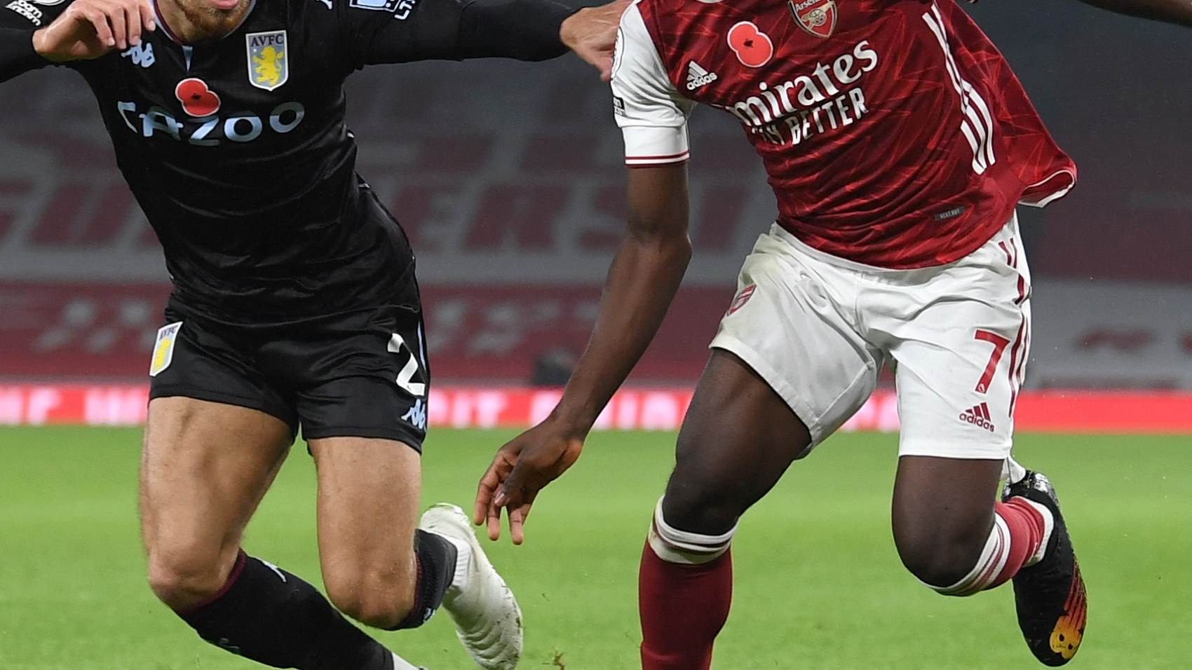 LONDON, ENGLAND - NOVEMBER 08: Bukayo Saka of Arsenal takes on Matthew Cash of Villa during the Premier League match between Arsenal and Aston Villa at Emirates Stadium on November 08, 2020 in London, England. (Photo by David Price/Arsenal FC via Getty Images)