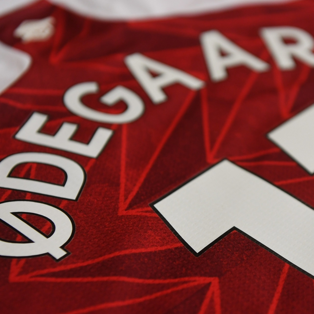 LONDON, ENGLAND - JANUARY 30: Martin Odegaard's shirt in the Arsenal changing room before the Premier League match between Arsenal and Manchester United at Emirates Stadium on January 30, 2021 in London, England. Sporting stadiums around the UK remain under strict restrictions due to the Coronavirus Pandemic as Government social distancing laws prohibit fans inside venues resulting in games being played behind closed doors. (Photo by Stuart MacFarlane/Arsenal FC via Getty Images)