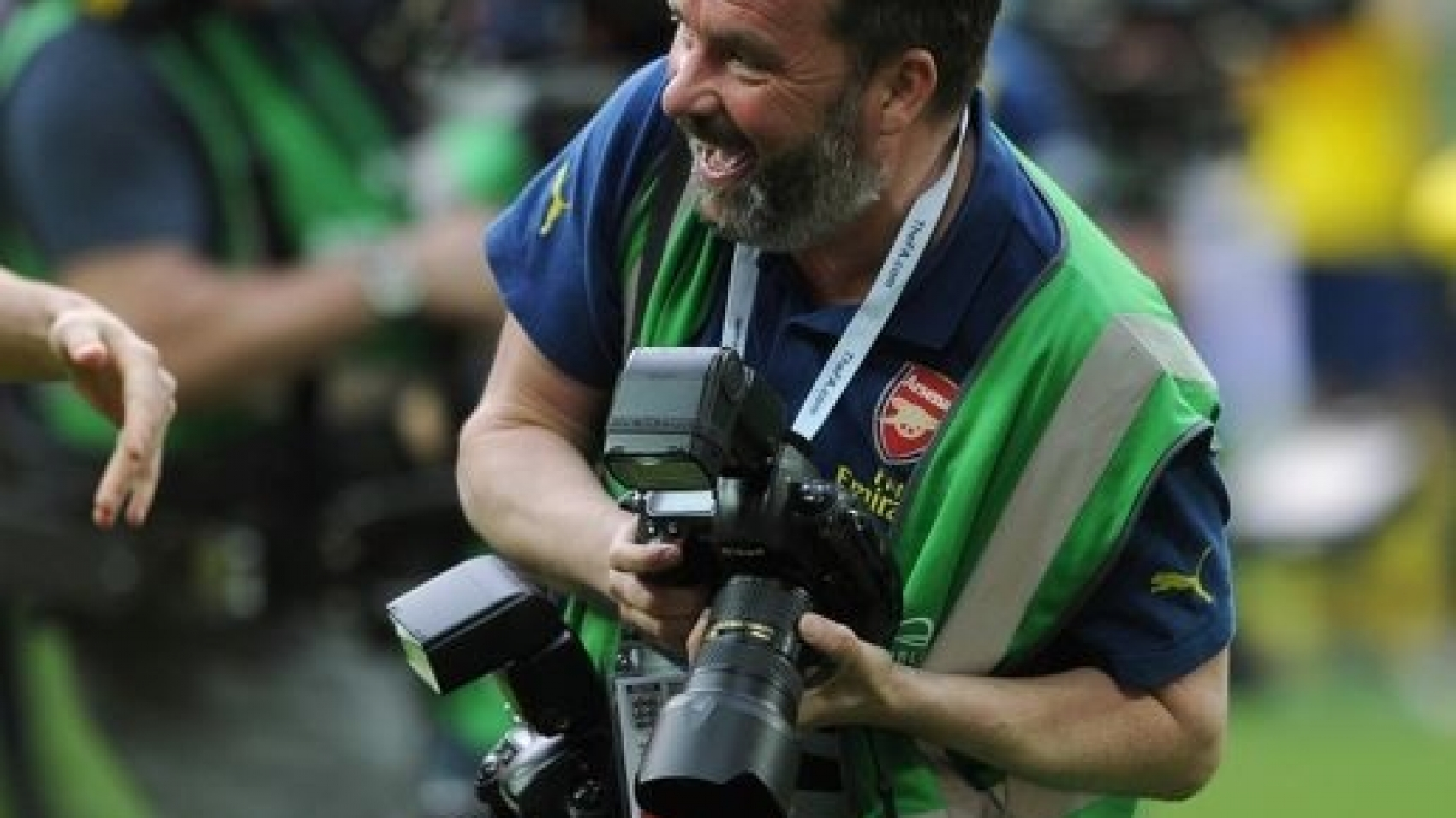 Arsenal photographer Stuart MacFarlane after the match. Arsenal 4:0 Aston Villa. FA Cup Final. Wembley Stadium, 30/5/15. Credit : Arsenal Football Club / David Price.